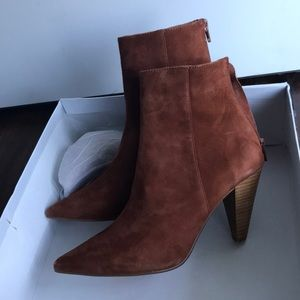 Brand NEW In Box Chestnut Suede Booties